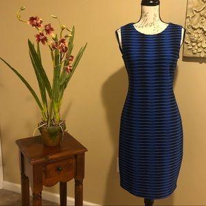 Calvin Klein Black & Blue Cinched Dress. Size 4